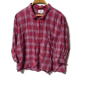 American Eagle Button Front Shirt Pink Purple XXL